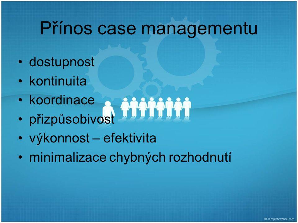 Přínos case managementu dostupnost kontinuita koordinace přizpůsobivost výkonnost – efektivita minimalizace chybných rozhodnutí