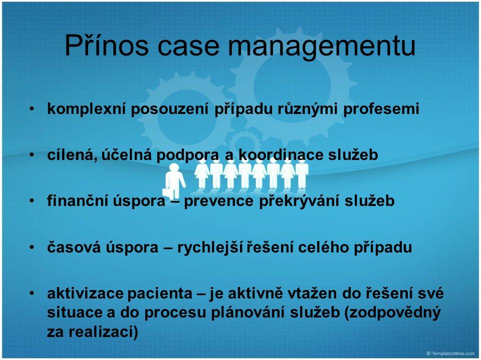 Přínos case managementu komplexní posouzení případu různými profesemi cílená, účelná podpora a koordinace služeb finanční úspora – prevence překrývání