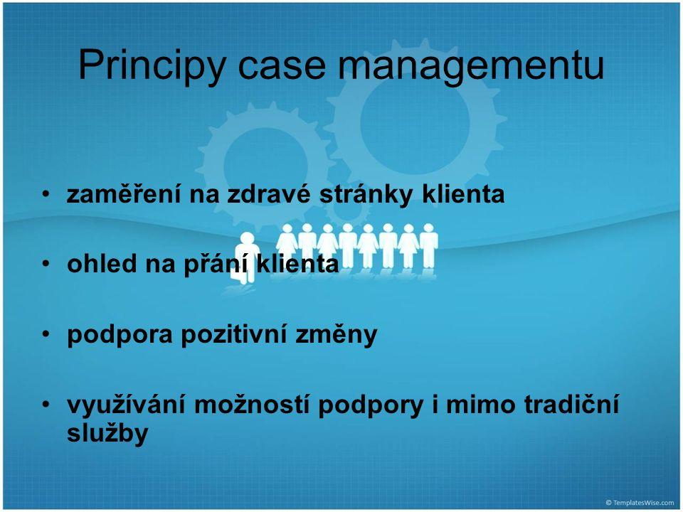 Principy case managementu zaměření na zdravé stránky klienta ohled na přání klienta podpora pozitivní změny využívání možností podpory i mimo tradiční služby