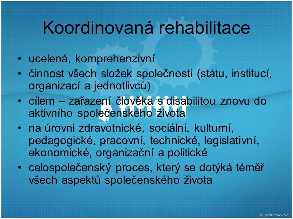Koordinovaná rehabilitace ucelená, komprehenzívní činnost všech složek společnosti (státu, institucí, organizací a jednotlivců) cílem – zařazení člově