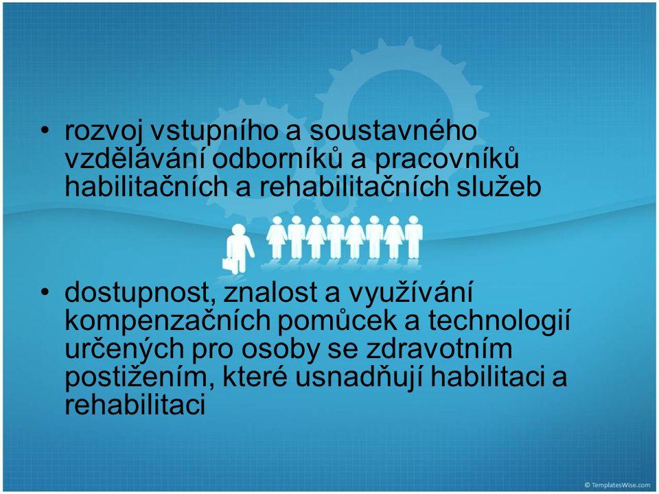rozvoj vstupního a soustavného vzdělávání odborníků a pracovníků habilitačních a rehabilitačních služeb dostupnost, znalost a využívání kompenzačních pomůcek a technologií určených pro osoby se zdravotním postižením, které usnadňují habilitaci a rehabilitaci
