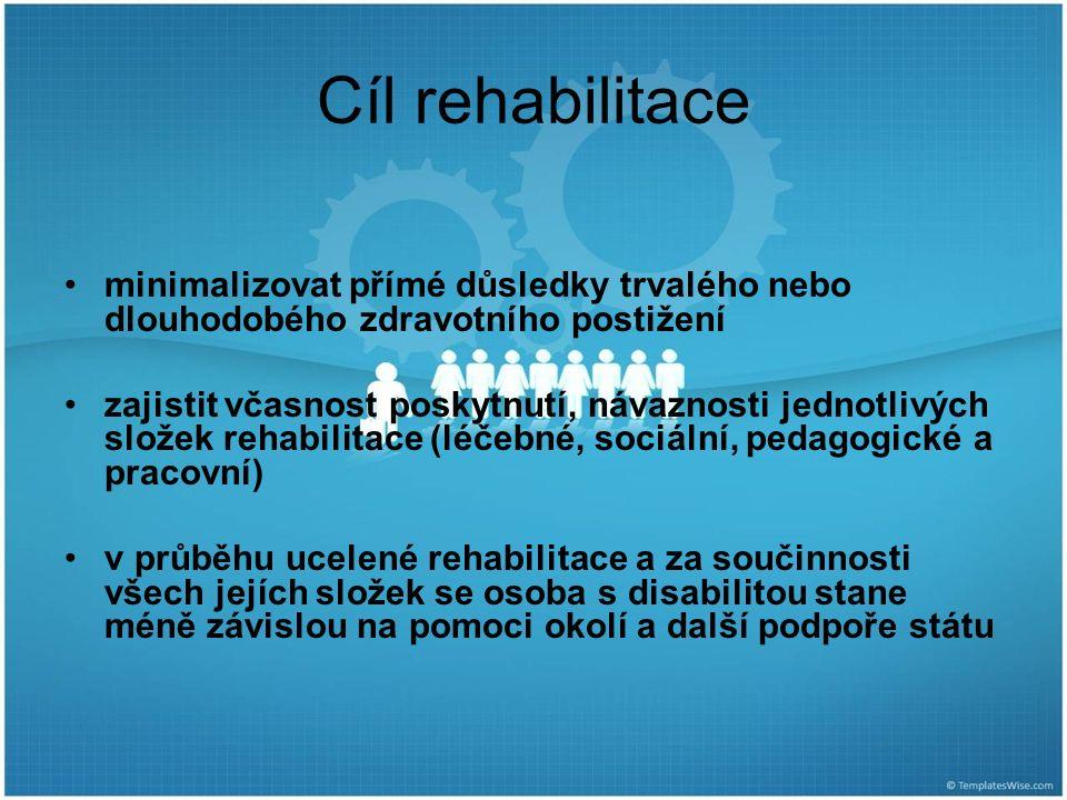 Cíl rehabilitace minimalizovat přímé důsledky trvalého nebo dlouhodobého zdravotního postižení zajistit včasnost poskytnutí, návaznosti jednotlivých složek rehabilitace (léčebné, sociální, pedagogické a pracovní) v průběhu ucelené rehabilitace a za součinnosti všech jejích složek se osoba s disabilitou stane méně závislou na pomoci okolí a další podpoře státu