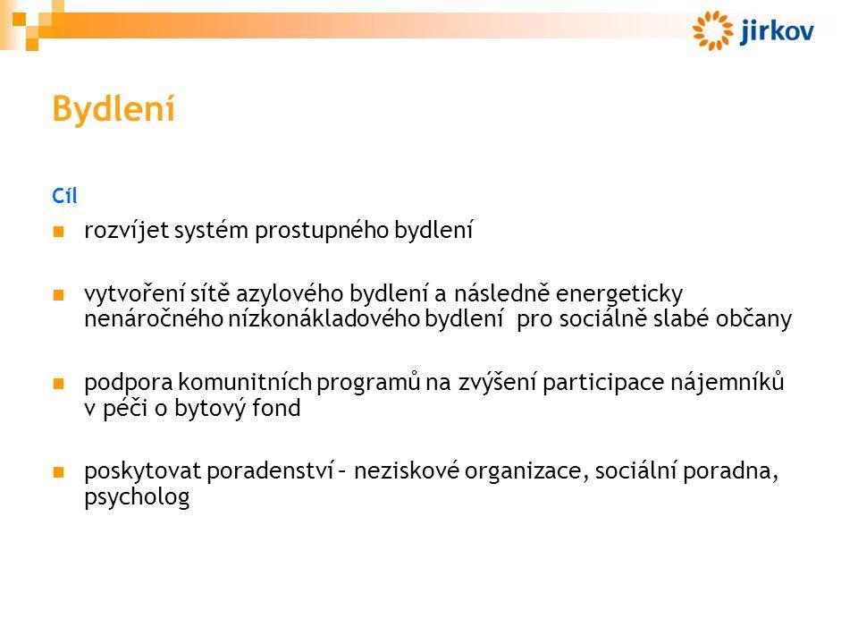 Bydlení Cíl rozvíjet systém prostupného bydlení vytvoření sítě azylového bydlení a následně energeticky nenáročného nízkonákladového bydlení pro sociálně slabé občany podpora komunitních programů na zvýšení participace nájemníků v péči o bytový fond poskytovat poradenství – neziskové organizace, sociální poradna, psycholog