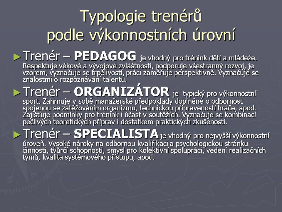 Typologie trenérů podle výkonnostních úrovní ► Trenér – PEDAGOG je vhodný pro trénink dětí a mládeže.