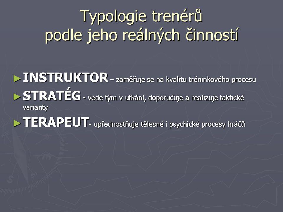 Typologie trenérů podle jeho reálných činností ► INSTRUKTOR – zaměřuje se na kvalitu tréninkového procesu ► STRATÉG - vede tým v utkání, doporučuje a realizuje taktické varianty ► TERAPEUT - upřednostňuje tělesné i psychické procesy hráčů