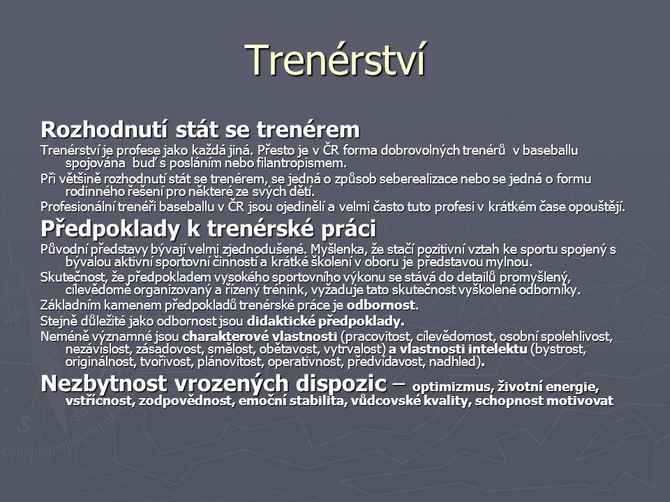 Trenérství Rozhodnutí stát se trenérem Trenérství je profese jako každá jiná.