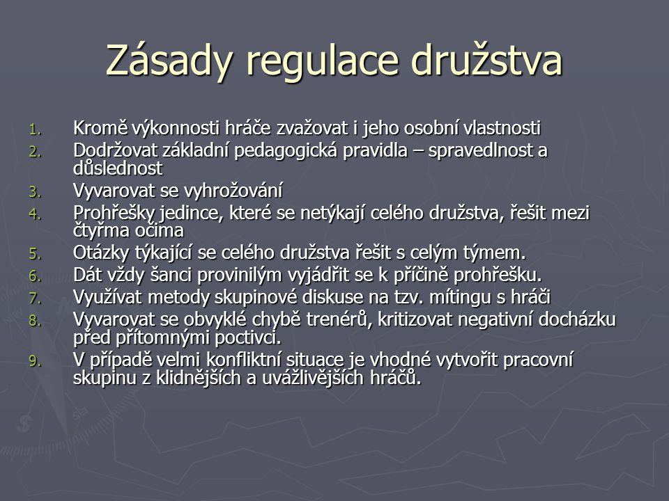 Zásady regulace družstva 1. Kromě výkonnosti hráče zvažovat i jeho osobní vlastnosti 2.