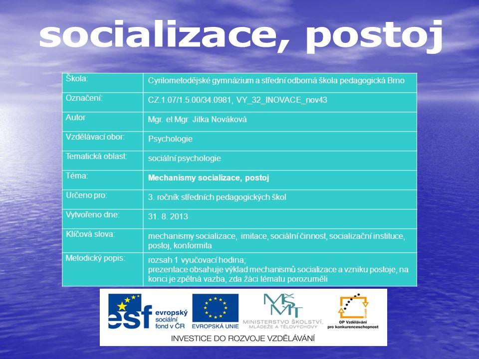 mechanismy socializace: sociální činnost – hra, učení, práce; sociální činnost – hra, učení, práce; nápodobou, imitace nápodobou, imitace ztotožněním, identifikace ztotožněním, identifikace sugesce sugesce