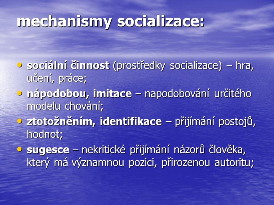 mechanismy socializace: sociální činnost (prostředky socializace) – hra, učení, práce; sociální činnost (prostředky socializace) – hra, učení, práce; nápodobou, imitace – napodobování určitého modelu chování; nápodobou, imitace – napodobování určitého modelu chování; ztotožněním, identifikace – přijímání postojů, hodnot; ztotožněním, identifikace – přijímání postojů, hodnot; sugesce – nekritické přijímání názorů člověka, který má významnou pozici, přirozenou autoritu; sugesce – nekritické přijímání názorů člověka, který má významnou pozici, přirozenou autoritu;