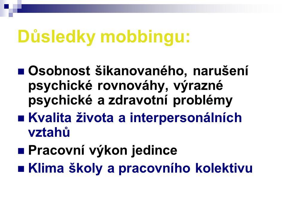 Důsledky mobbingu: Osobnost šikanovaného, narušení psychické rovnováhy, výrazné psychické a zdravotní problémy Kvalita života a interpersonálních vztahů Pracovní výkon jedince Klima školy a pracovního kolektivu