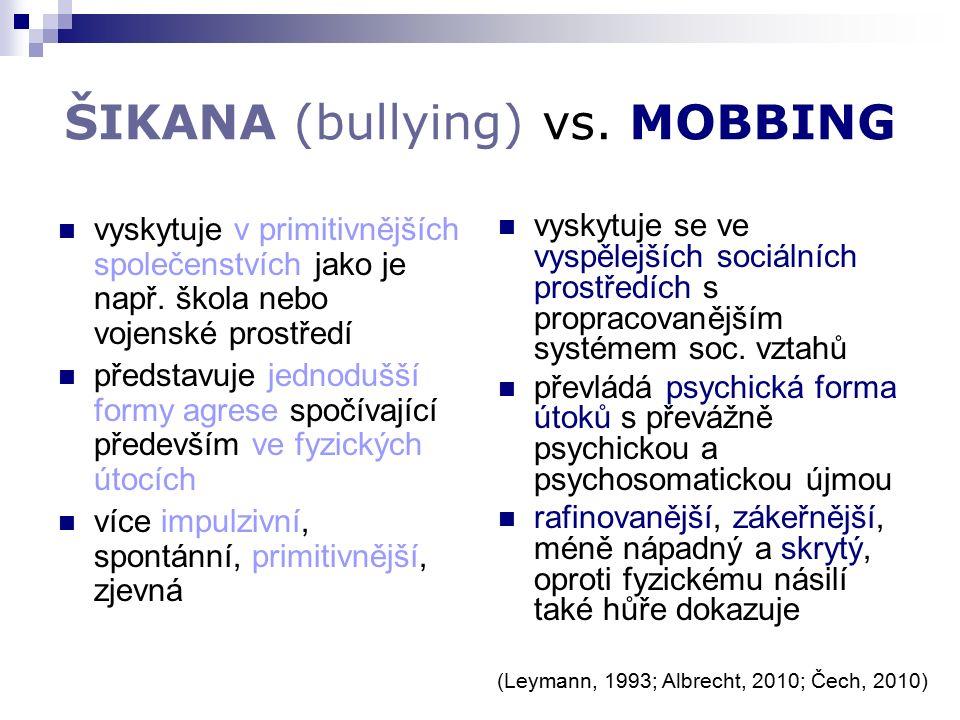 ŠIKANA (bullying) vs. MOBBING vyskytuje v primitivnějších společenstvích jako je např.