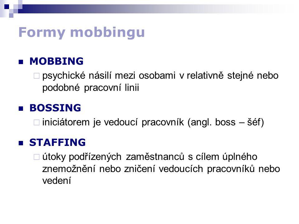 Formy mobbingu MOBBING  psychické násilí mezi osobami v relativně stejné nebo podobné pracovní linii BOSSING  iniciátorem je vedoucí pracovník (angl.
