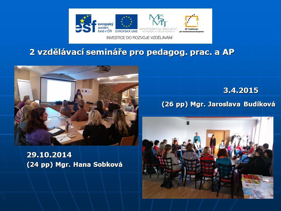 2 vzdělávací semináře pro pedagog. prac. a AP 2 vzdělávací semináře pro pedagog.