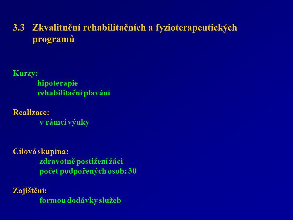 3.3 Zkvalitnění rehabilitačních a fyzioterapeutických programů Kurzy: hipoterapie rehabilitační plavání Realizace: v rámci výuky Cílová skupina: zdravotně postižení žáci počet podpořených osob: 30 Zajištění: formou dodávky služeb