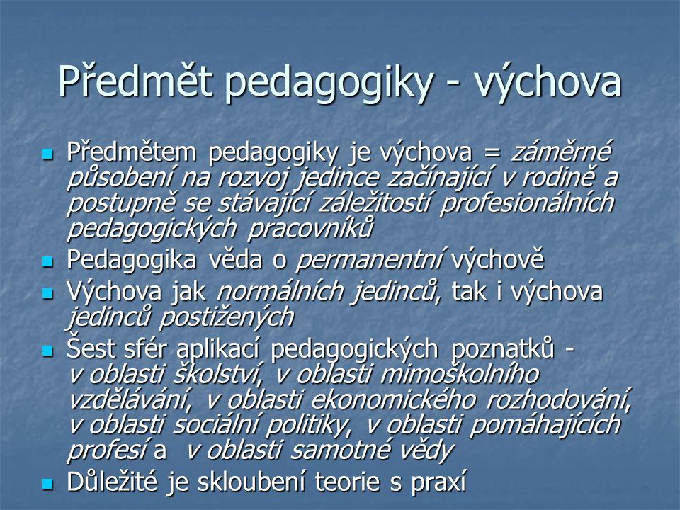 Předmět pedagogiky - výchova Předmětem pedagogiky je výchova = záměrné působení na rozvoj jedince začínající v rodině a postupně se stávající záležitostí profesionálních pedagogických pracovníků Předmětem pedagogiky je výchova = záměrné působení na rozvoj jedince začínající v rodině a postupně se stávající záležitostí profesionálních pedagogických pracovníků Pedagogika věda o permanentní výchově Pedagogika věda o permanentní výchově Výchova jak normálních jedinců, tak i výchova jedinců postižených Výchova jak normálních jedinců, tak i výchova jedinců postižených Šest sfér aplikací pedagogických poznatků - v oblasti školství, v oblasti mimoškolního vzdělávání, v oblasti ekonomického rozhodování, v oblasti sociální politiky, v oblasti pomáhajících profesí a v oblasti samotné vědy Šest sfér aplikací pedagogických poznatků - v oblasti školství, v oblasti mimoškolního vzdělávání, v oblasti ekonomického rozhodování, v oblasti sociální politiky, v oblasti pomáhajících profesí a v oblasti samotné vědy Důležité je skloubení teorie s praxí Důležité je skloubení teorie s praxí