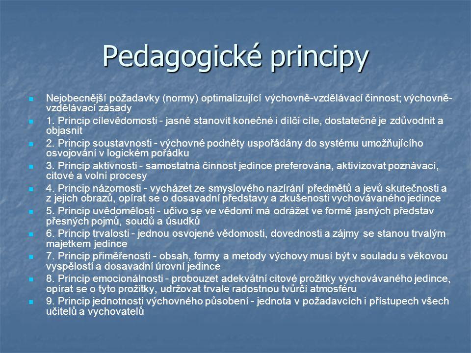 Pedagogické principy Nejobecnější požadavky (normy) optimalizující výchovně-vzdělávací činnost; výchovně- vzdělávací zásady 1.