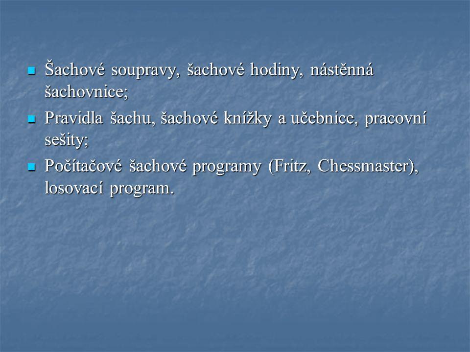 Šachové soupravy, šachové hodiny, nástěnná šachovnice; Šachové soupravy, šachové hodiny, nástěnná šachovnice; Pravidla šachu, šachové knížky a učebnice, pracovní sešity; Pravidla šachu, šachové knížky a učebnice, pracovní sešity; Počítačové šachové programy (Fritz, Chessmaster), losovací program.