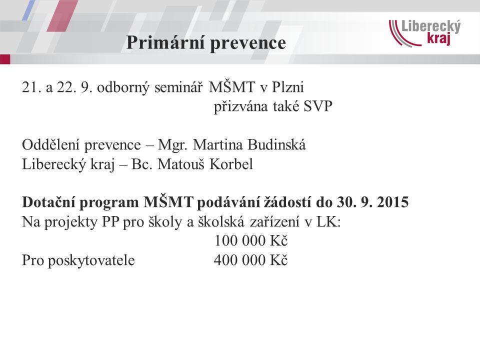 Primární prevence 21. a 22. 9. odborný seminář MŠMT v Plzni přizvána také SVP Oddělení prevence – Mgr. Martina Budinská Liberecký kraj – Bc. Matouš Ko