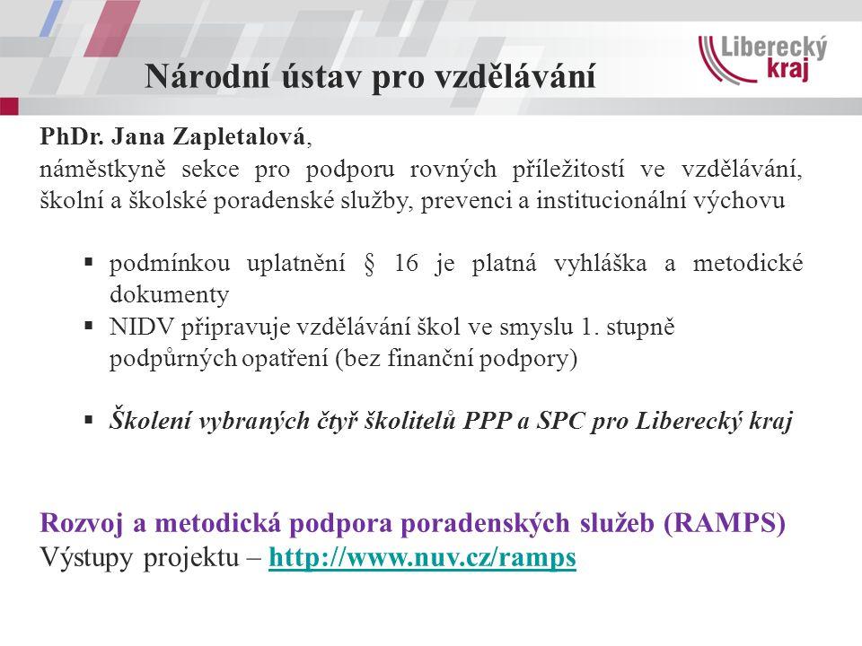 Národní ústav pro vzdělávání PhDr. Jana Zapletalová, náměstkyně sekce pro podporu rovných příležitostí ve vzdělávání, školní a školské poradenské služ
