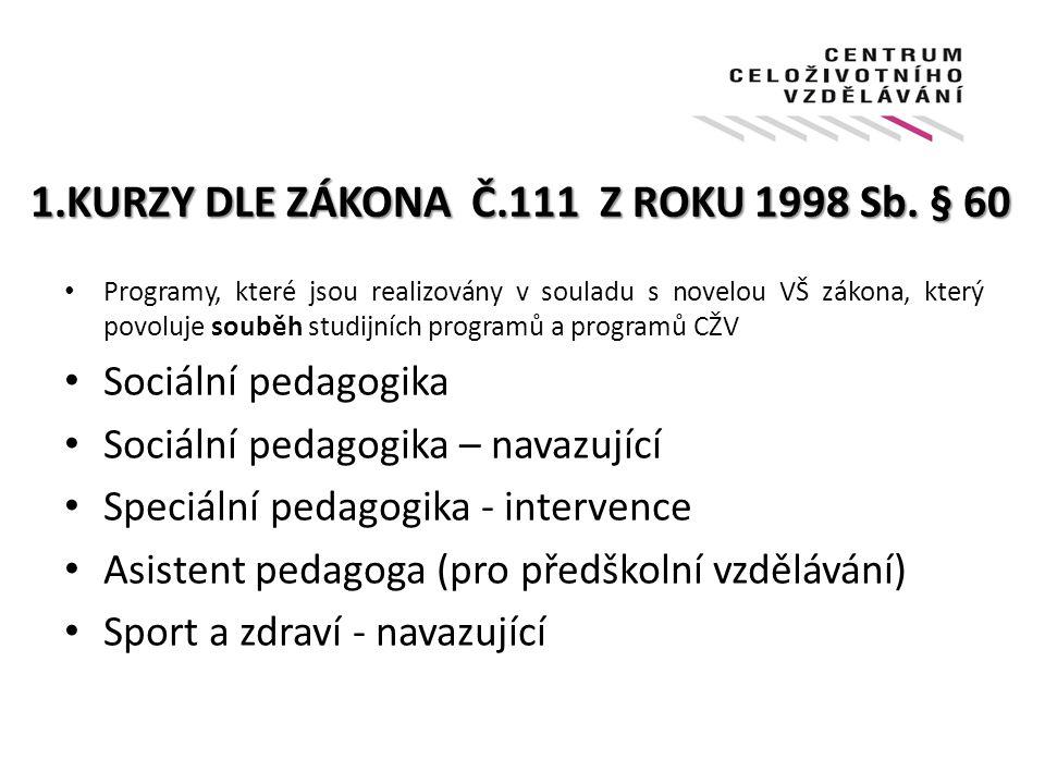 1.KURZY DLE ZÁKONA Č.111 Z ROKU 1998 Sb. § 60 Programy, které jsou realizovány v souladu s novelou VŠ zákona, který povoluje souběh studijních program