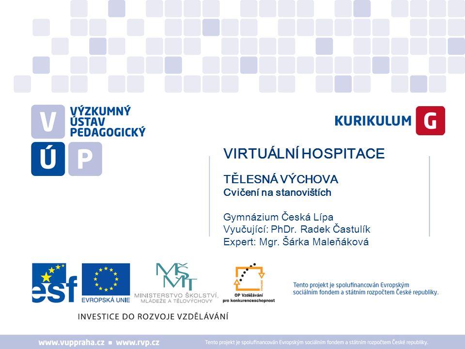 VIRTUÁLNÍ HOSPITACE TĚLESNÁ VÝCHOVA Cvičení na stanovištích Gymnázium Česká Lípa Vyučující: PhDr.