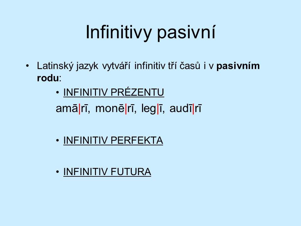 Infinitivy pasivní Latinský jazyk vytváří infinitiv tří časů i v pasivním rodu: INFINITIV PRÉZENTU amā|rī, monē|rī, leg|ī, audī|rī INFINITIV PERFEKTA INFINITIV FUTURA