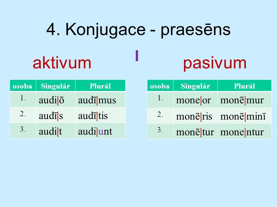 4. Konjugace - praesēns aktivumpasivum osobaSingulárPlurál 1.