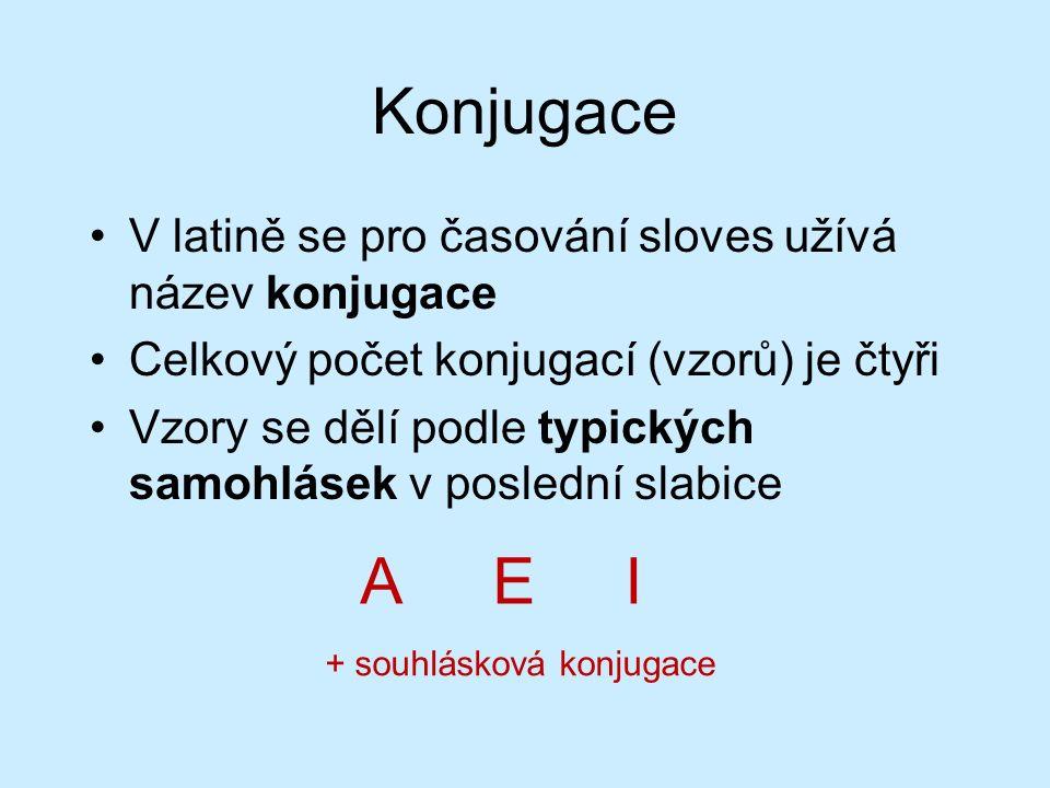 Konjugace V latině se pro časování sloves užívá název konjugace Celkový počet konjugací (vzorů) je čtyři Vzory se dělí podle typických samohlásek v poslední slabice A E I + souhlásková konjugace