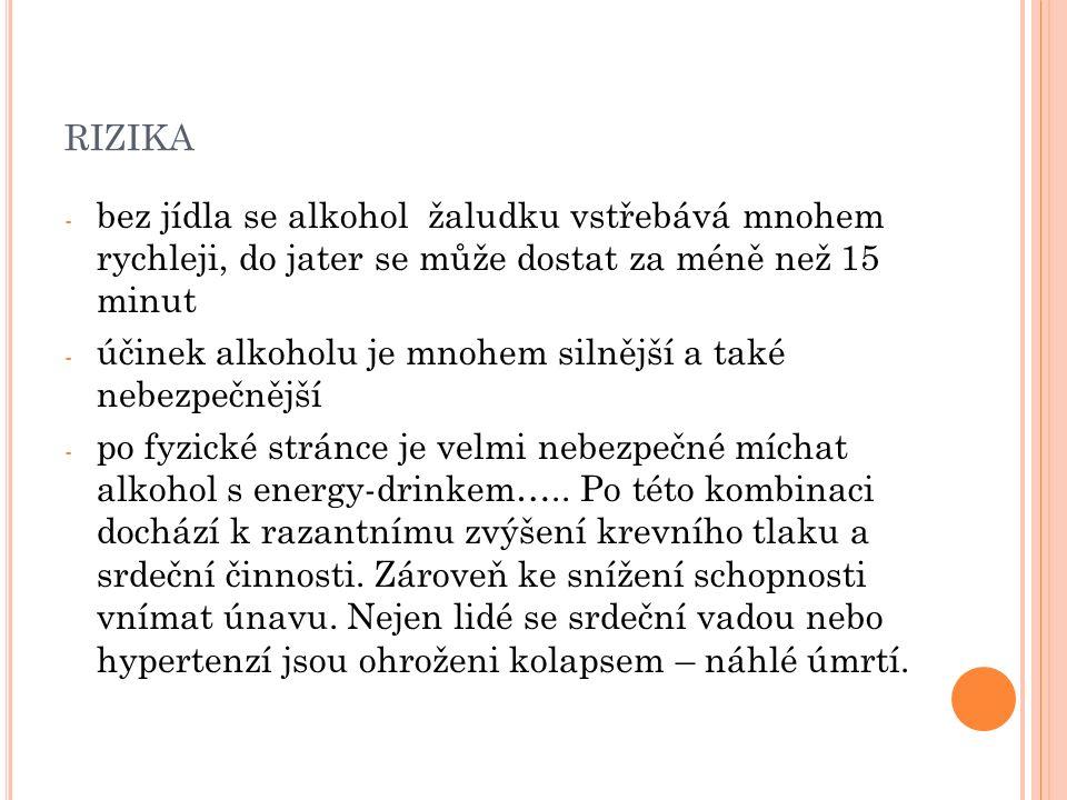 RIZIKA - bez jídla se alkohol žaludku vstřebává mnohem rychleji, do jater se může dostat za méně než 15 minut - účinek alkoholu je mnohem silnější a také nebezpečnější - po fyzické stránce je velmi nebezpečné míchat alkohol s energy-drinkem…..