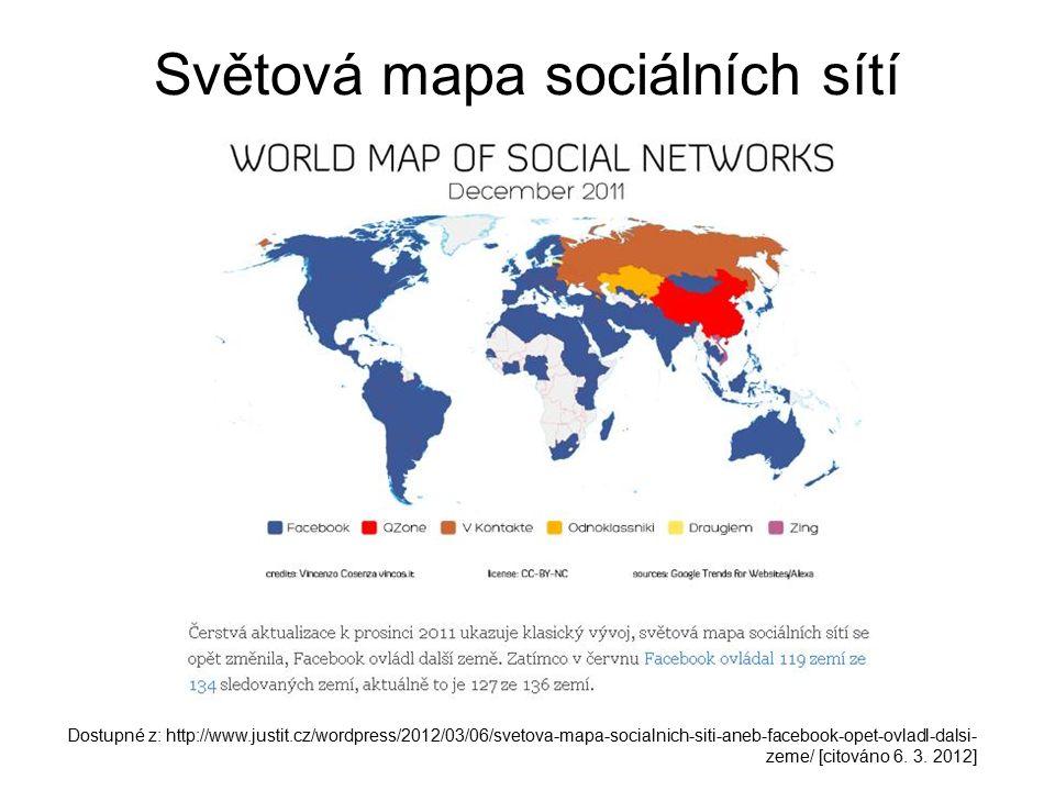 Světová mapa sociálních sítí Dostupné z: http://www.justit.cz/wordpress/2012/03/06/svetova-mapa-socialnich-siti-aneb-facebook-opet-ovladl-dalsi- zeme/ [citováno 6.
