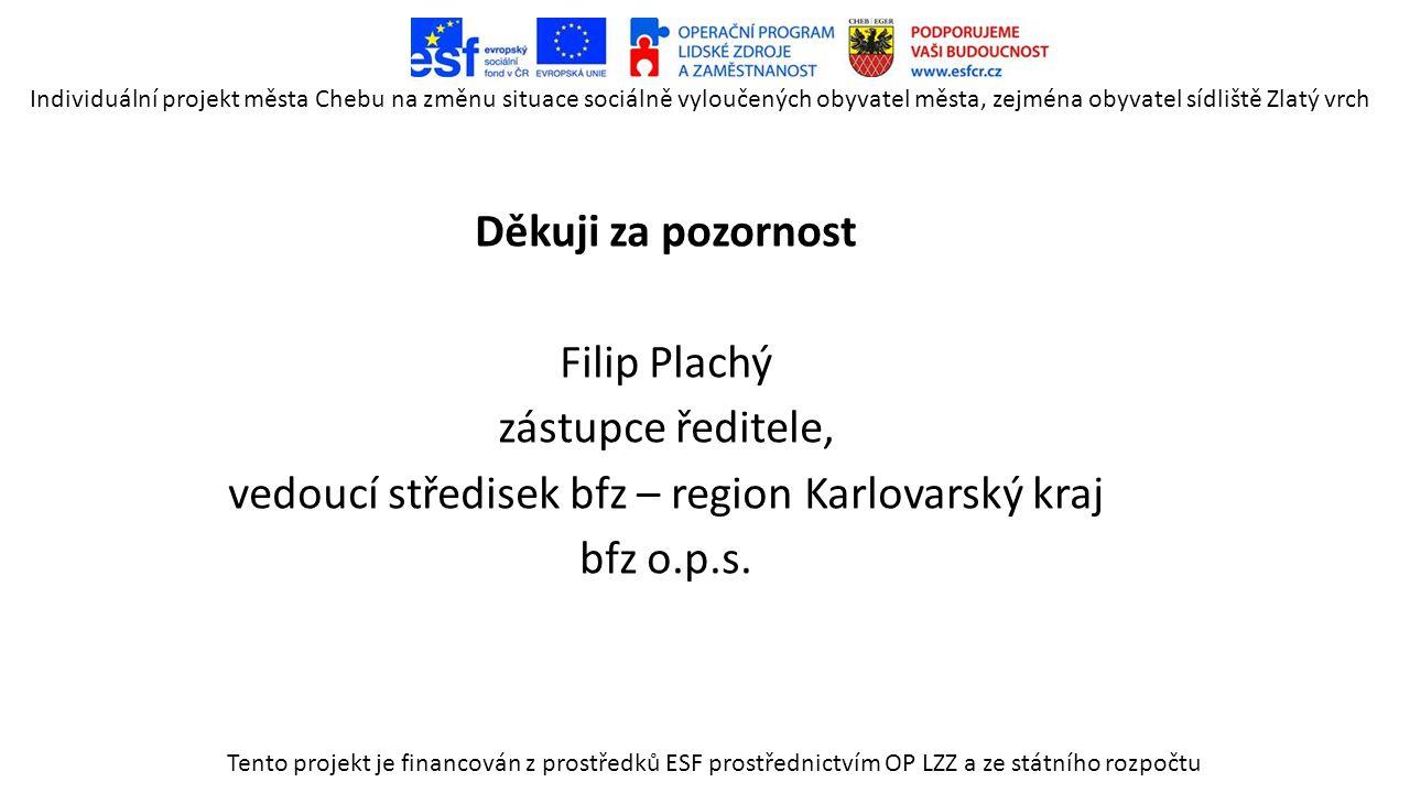 Děkuji za pozornost Filip Plachý zástupce ředitele, vedoucí středisek bfz – region Karlovarský kraj bfz o.p.s.