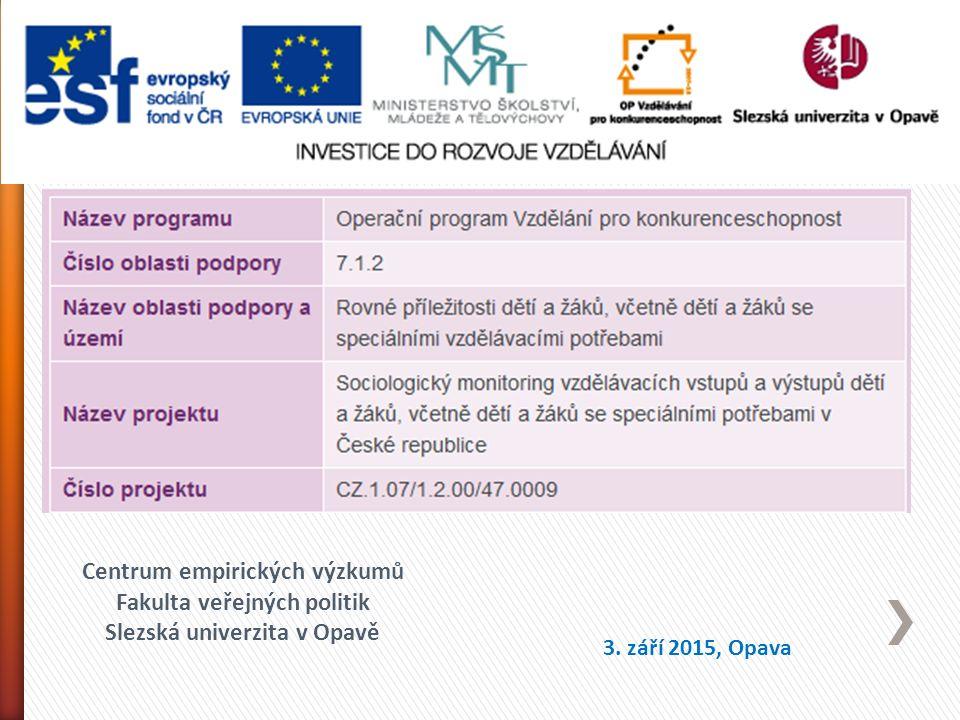 Centrum empirických výzkumů Fakulta veřejných politik Slezská univerzita v Opavě 3.