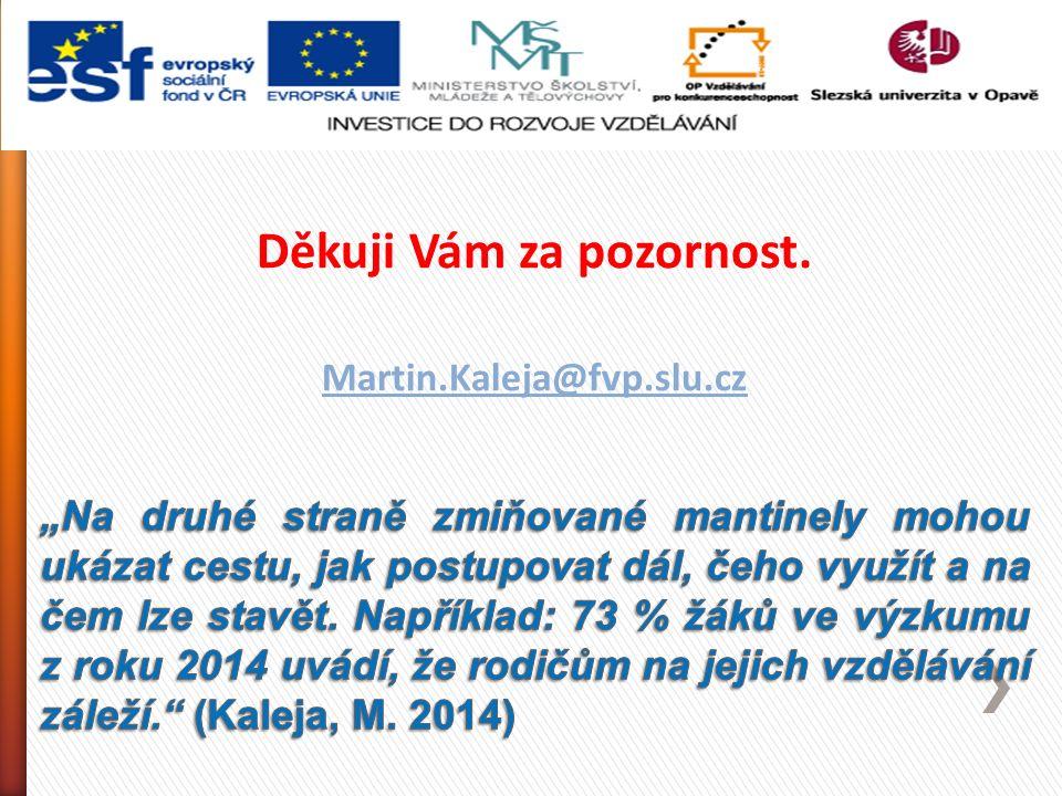 Děkuji Vám za pozornost. Martin.Kaleja@fvp.slu.cz