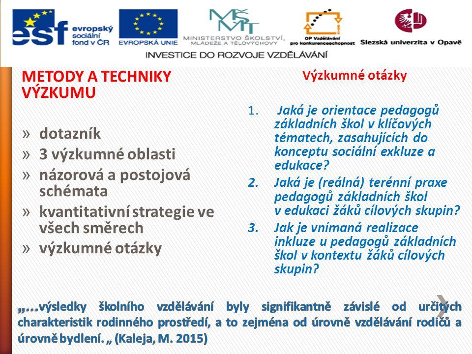 METODY A TECHNIKY VÝZKUMU » dotazník » 3 výzkumné oblasti » názorová a postojová schémata » kvantitativní strategie ve všech směrech » výzkumné otázky Výzkumné otázky 1.