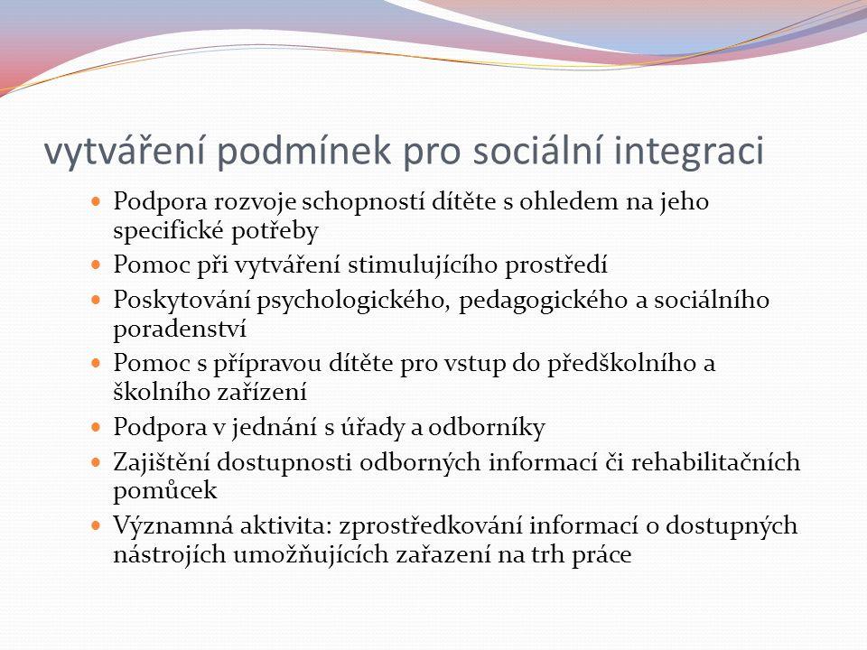 vytváření podmínek pro sociální integraci Podpora rozvoje schopností dítěte s ohledem na jeho specifické potřeby Pomoc při vytváření stimulujícího pro