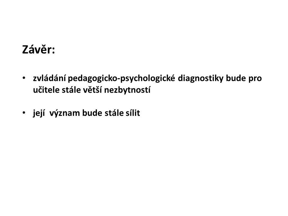 Závěr: zvládání pedagogicko-psychologické diagnostiky bude pro učitele stále větší nezbytností její význam bude stále sílit