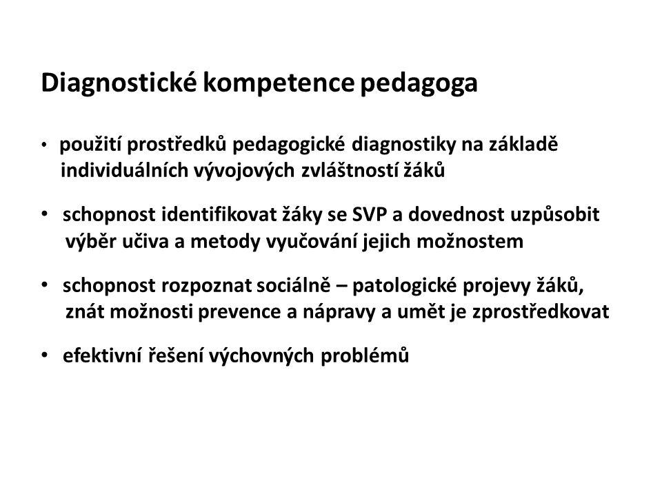 Diagnostické kompetence pedagoga použití prostředků pedagogické diagnostiky na základě individuálních vývojových zvláštností žáků schopnost identifiko