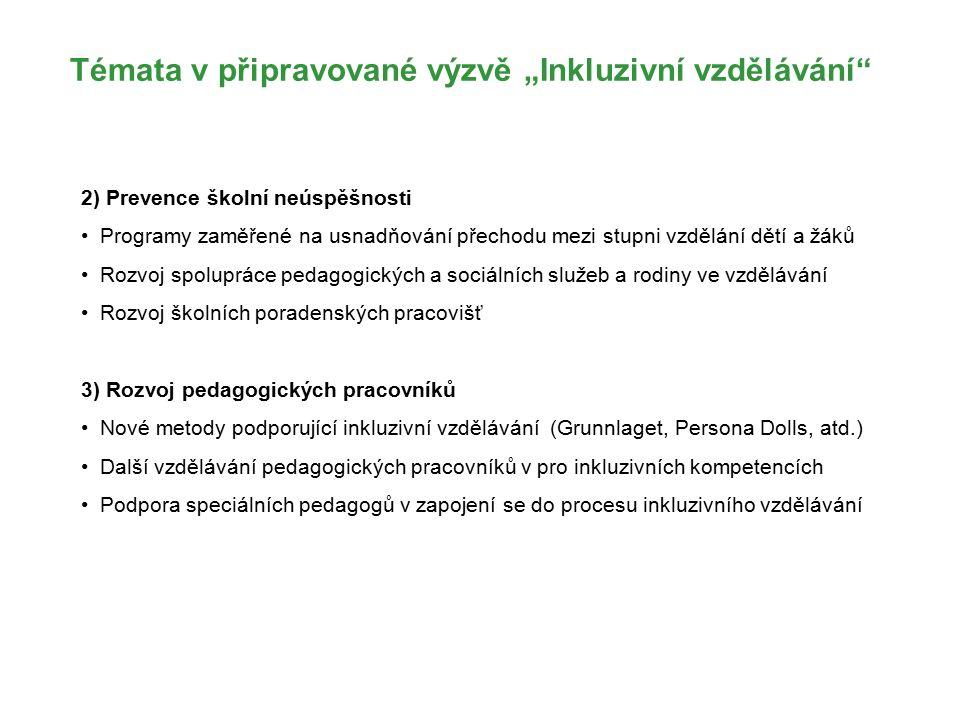 """Témata v připravované výzvě """"Inkluzivní vzdělávání 2) Prevence školní neúspěšnosti Programy zaměřené na usnadňování přechodu mezi stupni vzdělání dětí a žáků Rozvoj spolupráce pedagogických a sociálních služeb a rodiny ve vzdělávání Rozvoj školních poradenských pracovišť 3) Rozvoj pedagogických pracovníků Nové metody podporující inkluzivní vzdělávání (Grunnlaget, Persona Dolls, atd.) Další vzdělávání pedagogických pracovníků v pro inkluzivních kompetencích Podpora speciálních pedagogů v zapojení se do procesu inkluzivního vzdělávání"""