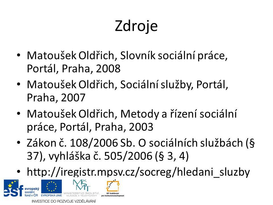 Zdroje Matoušek Oldřich, Slovník sociální práce, Portál, Praha, 2008 Matoušek Oldřich, Sociální služby, Portál, Praha, 2007 Matoušek Oldřich, Metody a