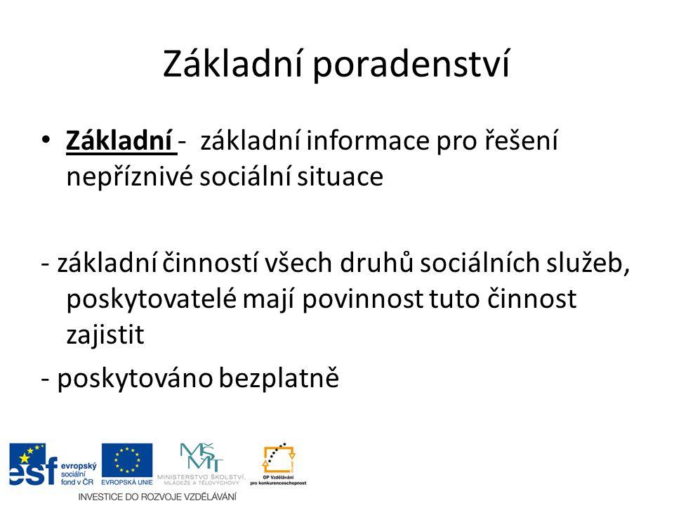 Základní poradenství Základní - základní informace pro řešení nepříznivé sociální situace - základní činností všech druhů sociálních služeb, poskytova