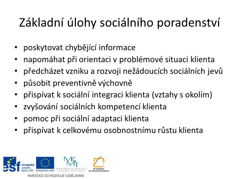 Základní úlohy sociálního poradenství poskytovat chybějící informace napomáhat při orientaci v problémové situaci klienta předcházet vzniku a rozvoji nežádoucích sociálních jevů působit preventivně výchovně přispívat k sociální integraci klienta (vztahy s okolím) zvyšování sociálních kompetencí klienta pomoc při sociální adaptaci klienta přispívat k celkovému osobnostnímu růstu klienta