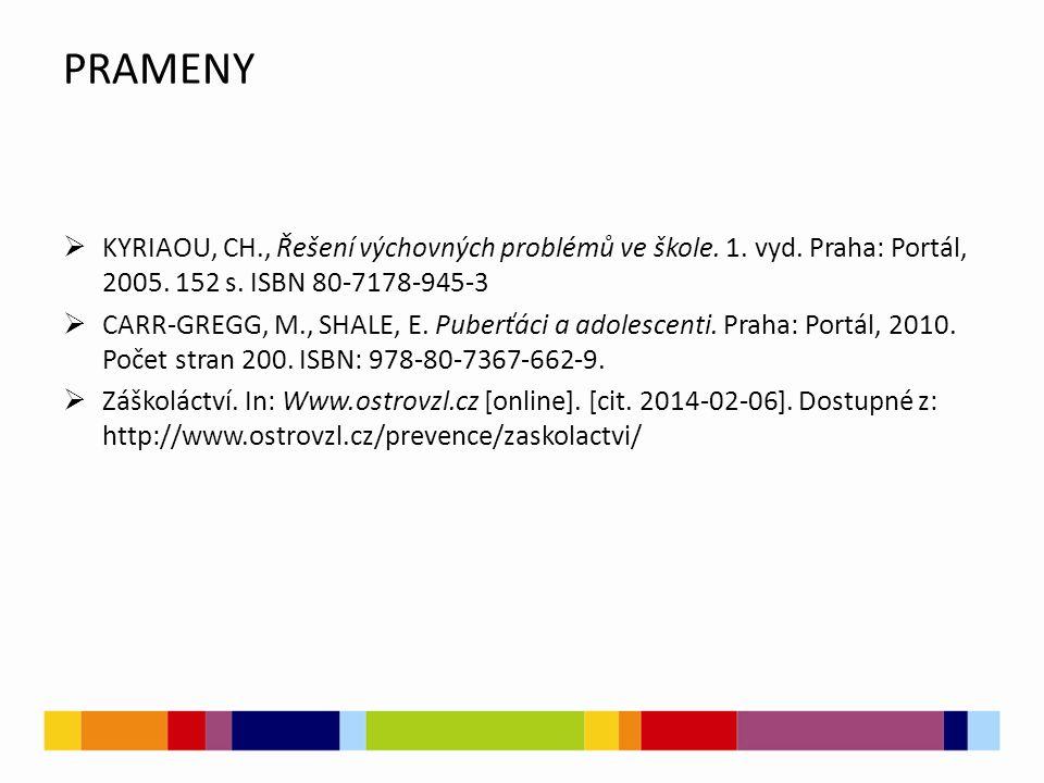 PRAMENY  KYRIAOU, CH., Řešení výchovných problémů ve škole. 1. vyd. Praha: Portál, 2005. 152 s. ISBN 80-7178-945-3  CARR-GREGG, M., SHALE, E. Puberť