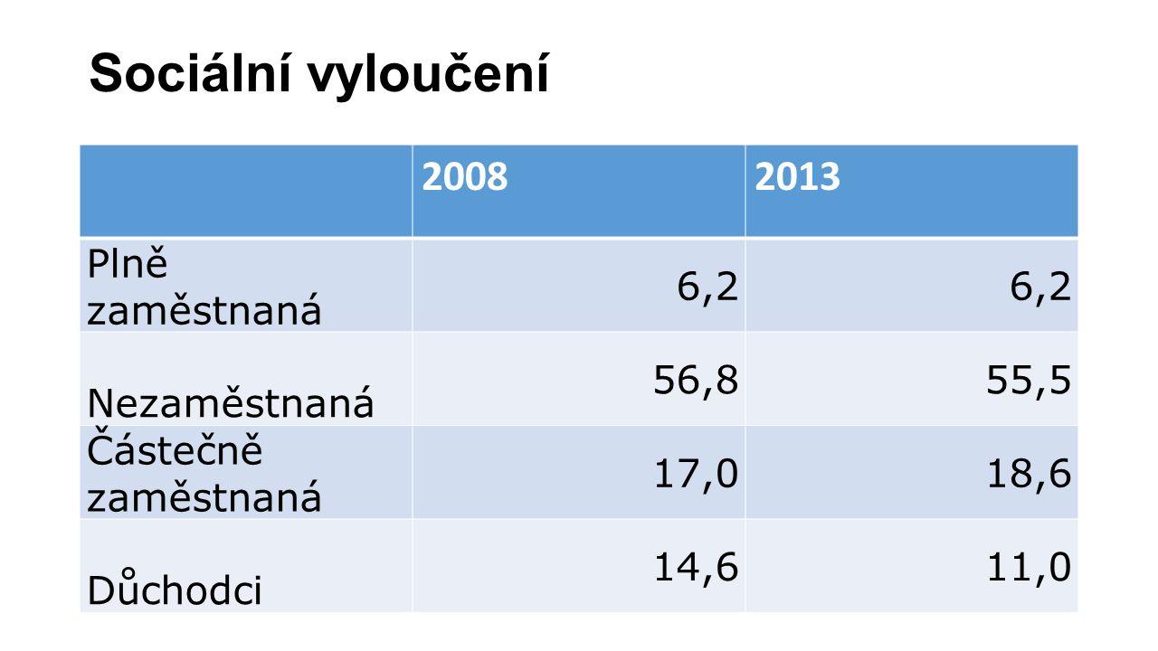 Sociální vyloučení 20082013 Plně zaměstnaná 6,2 Nezaměstnaná 56,855,5 Částečně zaměstnaná 17,018,6 Důchodci 14,611,0