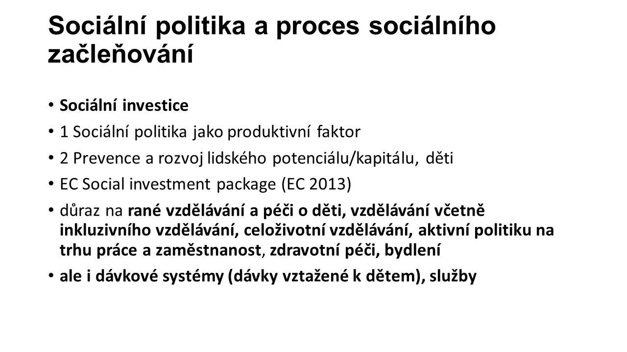 Sociální politika a proces sociálního začleňování Sociální investice 1 Sociální politika jako produktivní faktor 2 Prevence a rozvoj lidského potenciálu/kapitálu, děti EC Social investment package (EC 2013) důraz na rané vzdělávání a péči o děti, vzdělávání včetně inkluzivního vzdělávání, celoživotní vzdělávání, aktivní politiku na trhu práce a zaměstnanost, zdravotní péči, bydlení ale i dávkové systémy (dávky vztažené k dětem), služby