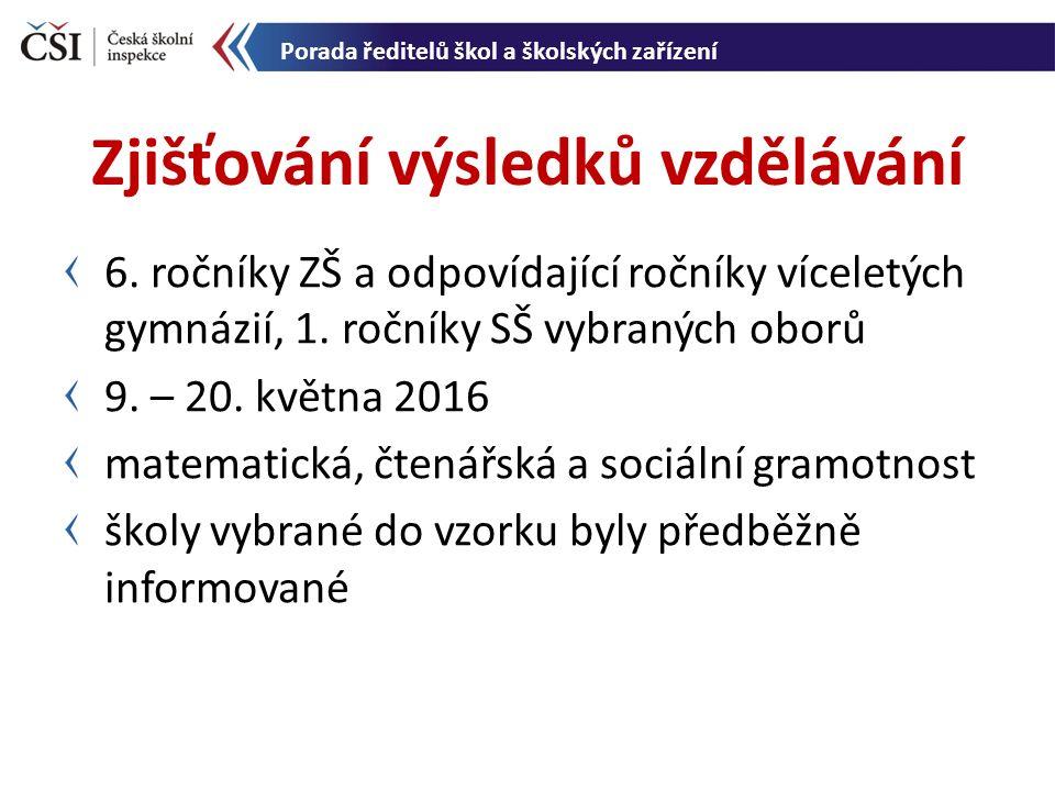 6. ročníky ZŠ a odpovídající ročníky víceletých gymnázií, 1. ročníky SŠ vybraných oborů 9. – 20. května 2016 matematická, čtenářská a sociální gramotn