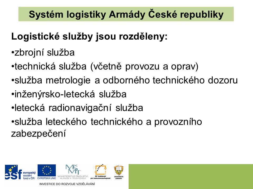 Systém logistiky Armády České republiky Logistické služby jsou rozděleny: zbrojní služba technická služba (včetně provozu a oprav) služba metrologie a odborného technického dozoru inženýrsko-letecká služba letecká radionavigační služba služba leteckého technického a provozního zabezpečení