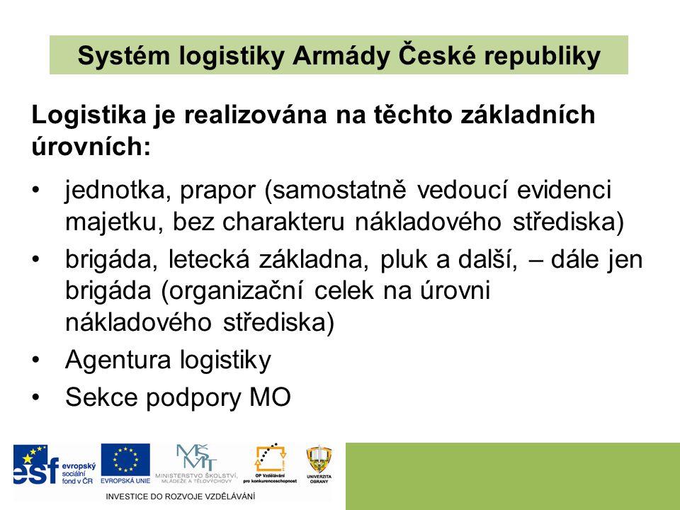 Systém logistiky Armády České republiky Logistika je realizována na těchto základních úrovních: jednotka, prapor (samostatně vedoucí evidenci majetku, bez charakteru nákladového střediska) brigáda, letecká základna, pluk a další, – dále jen brigáda (organizační celek na úrovni nákladového střediska) Agentura logistiky Sekce podpory MO