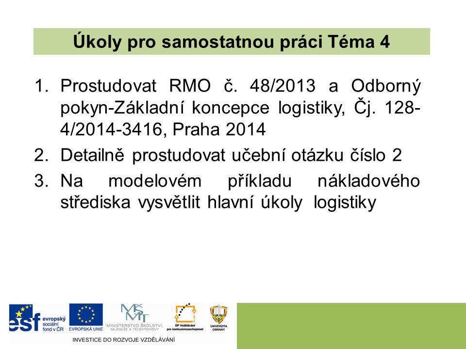 1.Prostudovat RMO č. 48/2013 a Odborný pokyn-Základní koncepce logistiky, Čj.