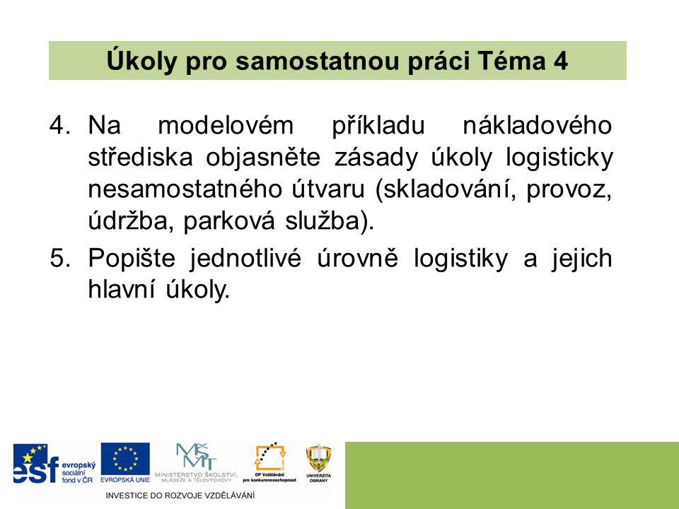 4.Na modelovém příkladu nákladového střediska objasněte zásady úkoly logisticky nesamostatného útvaru (skladování, provoz, údržba, parková služba).