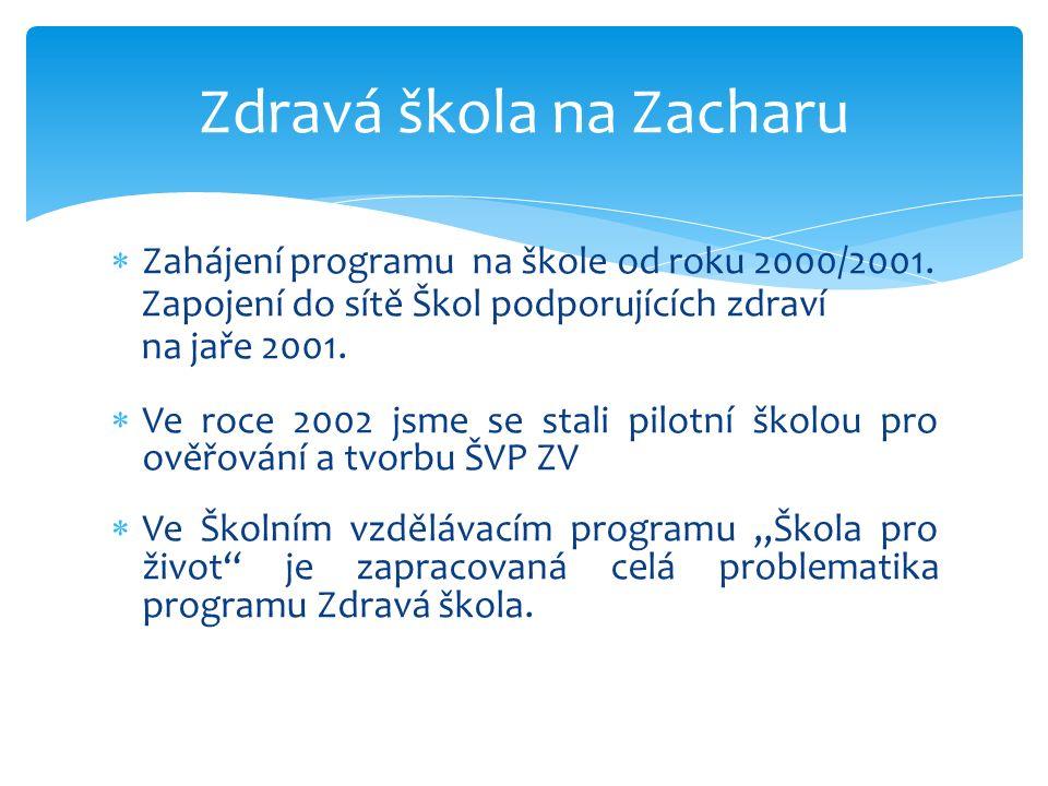  Zahájení programu na škole od roku 2000/2001.